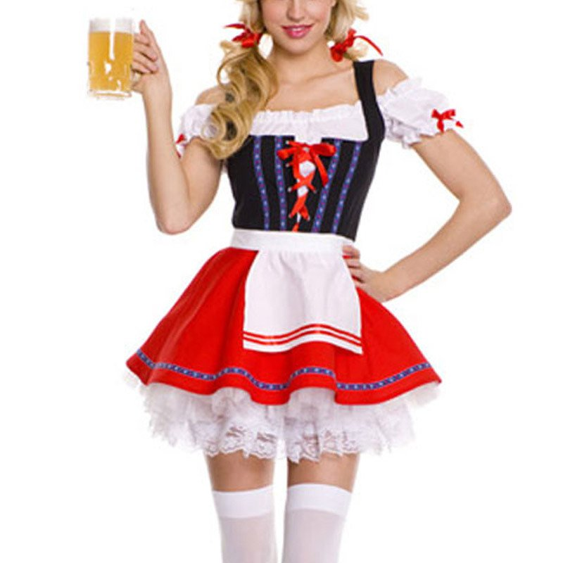 European and American Halloween Role - Playing Waitress Dress Sexy Three - Piece Stage Installed Halloween Costume