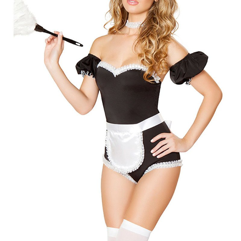 Fashionable Sexy Blouse Trousers White Lotus Leaf Role Play French Maid Stage Service Halloween Costume