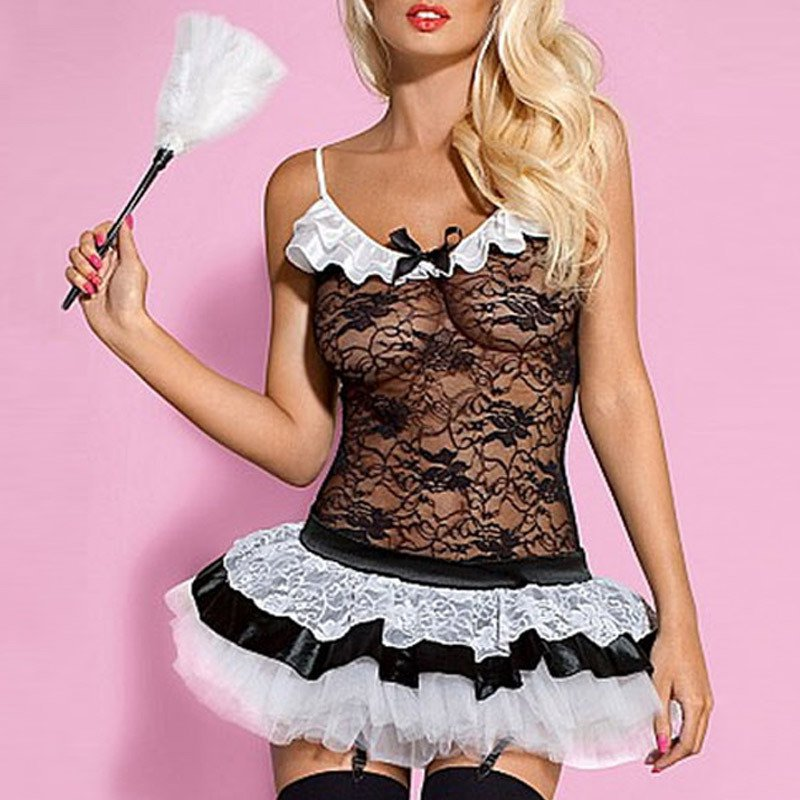 French Maid Clothing Sexy Lace Harness Sleeveless Fold Skirt Maid Uniforms Halloween Costume