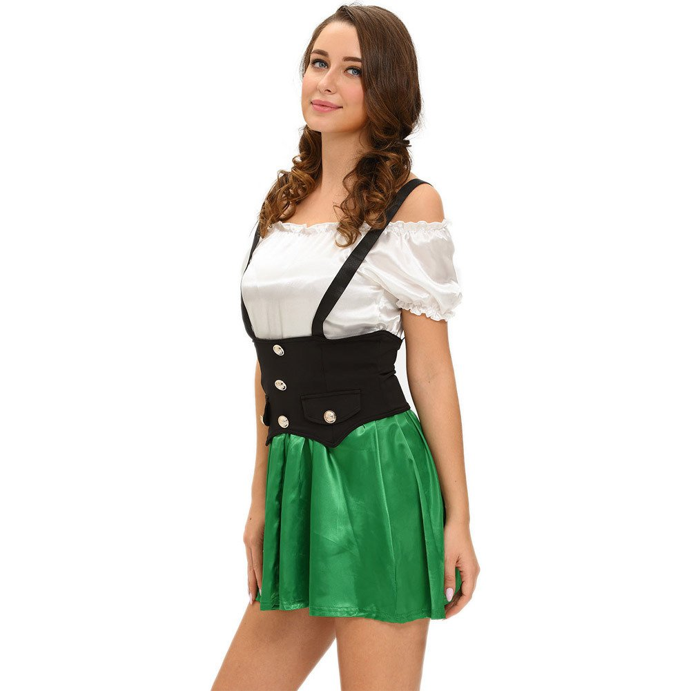 Halloween Maid Fitted Dress Short - Sleeved Harness Sexy Stage Installed Halloween Costume