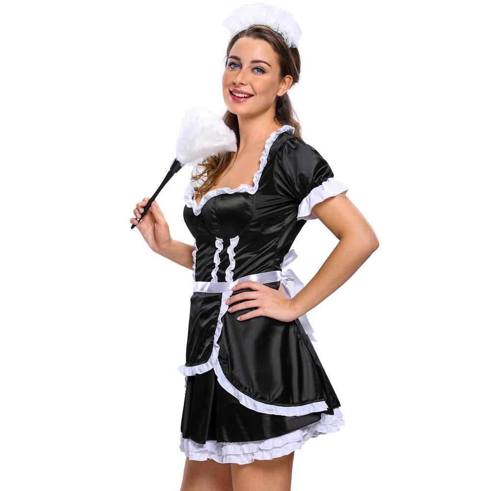 Performance Stage Fitted Sleeveless V - Necked Halloween Role - Playing Maid Costume Halloween Costume