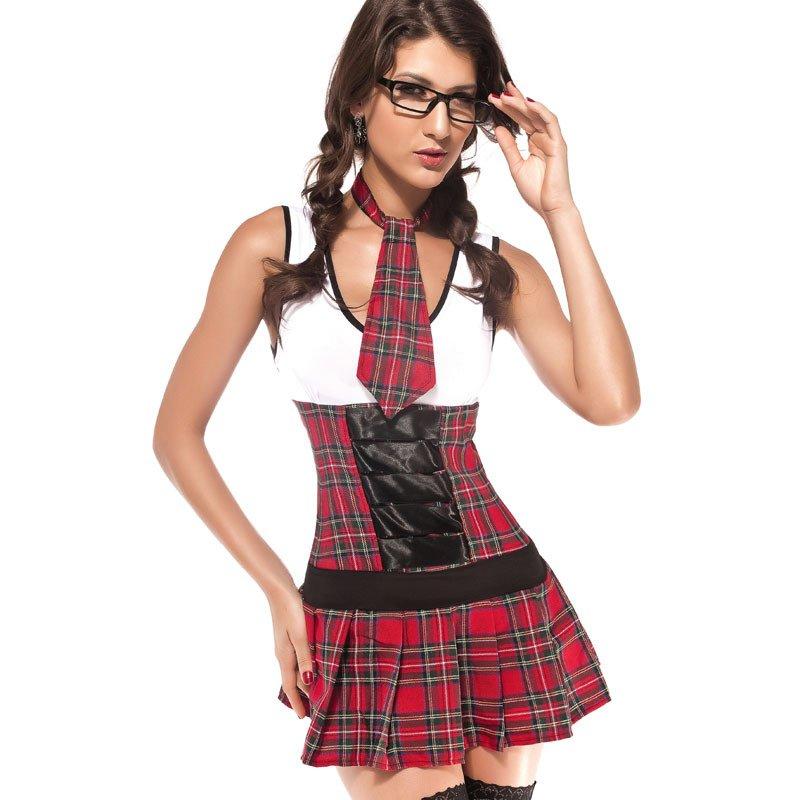 Sleeveless Round Collar Sexy Slim Uniform Halloween Costume