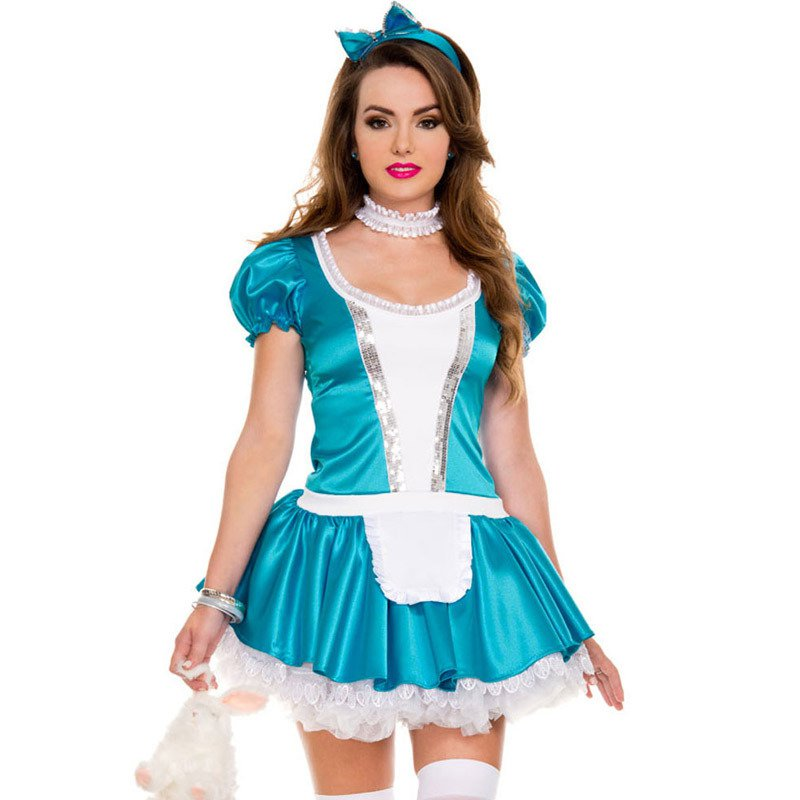 Stage Fitted Role - Playing Maid Short - Sleeved Bow Sexy Stage Uniforms Halloween Costume