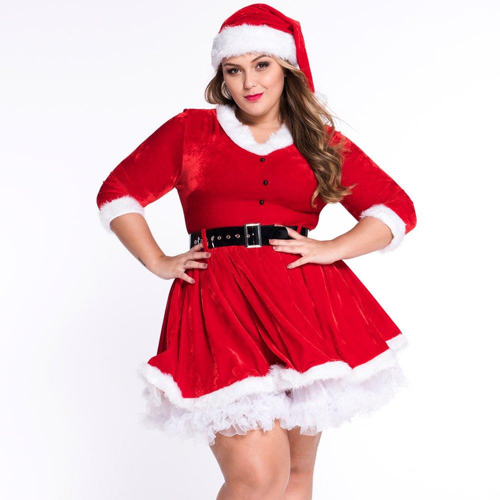 Charming Red Velvet Dress Sexy Santa Clothes
