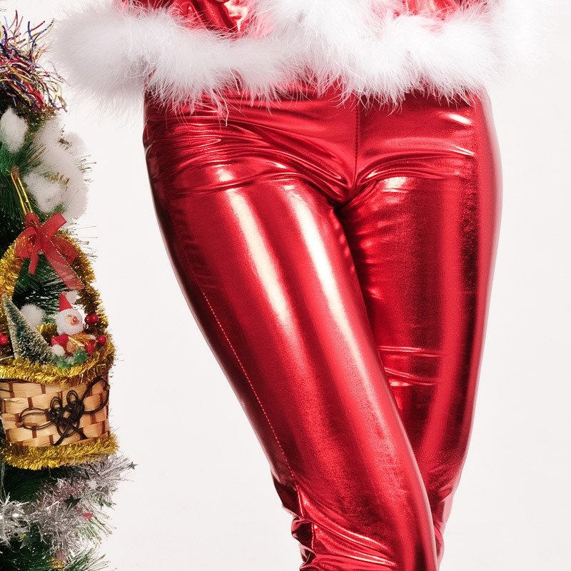 Europe and The United States Long - Sleeved Zipper Shiny Imitation Rabbit Tight - Fitting Slim Pants with A Christmas Christmas Uniforms