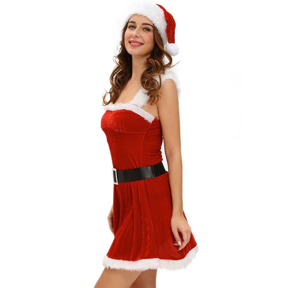 Sexy Christmas Clothing Red Velvet Dress Classic Santa Hat Three - Piece Suit
