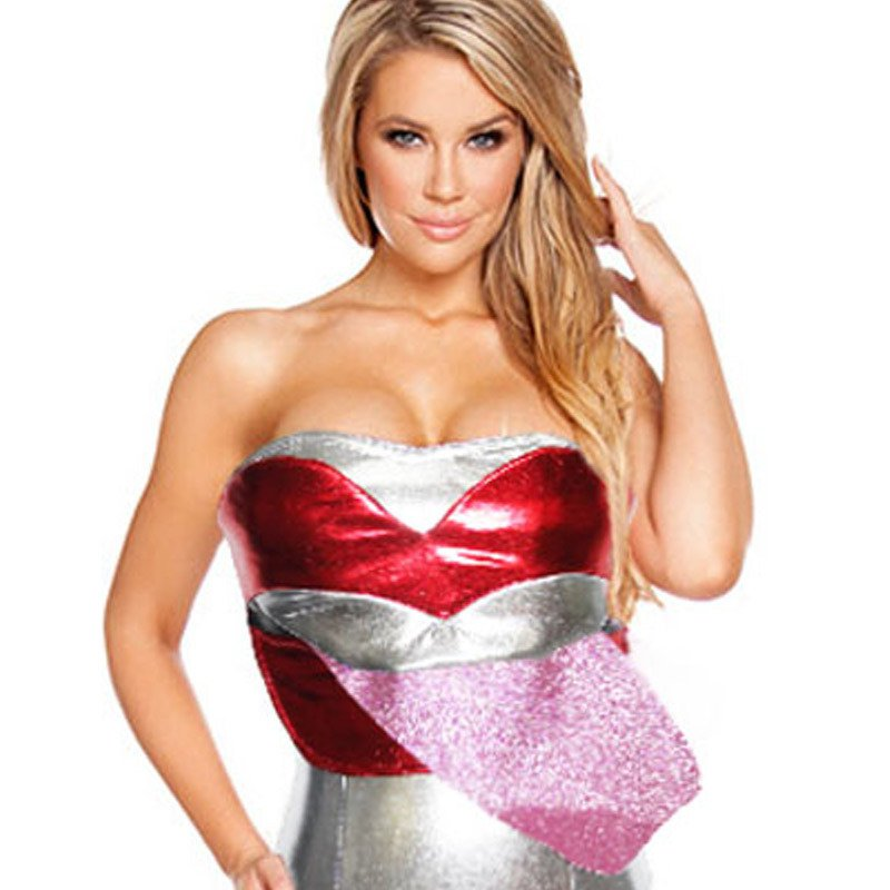 Sexy Dress with Strapless Silver Gilt Unique Large Red Lips Jumpsuit Halloween Costume
