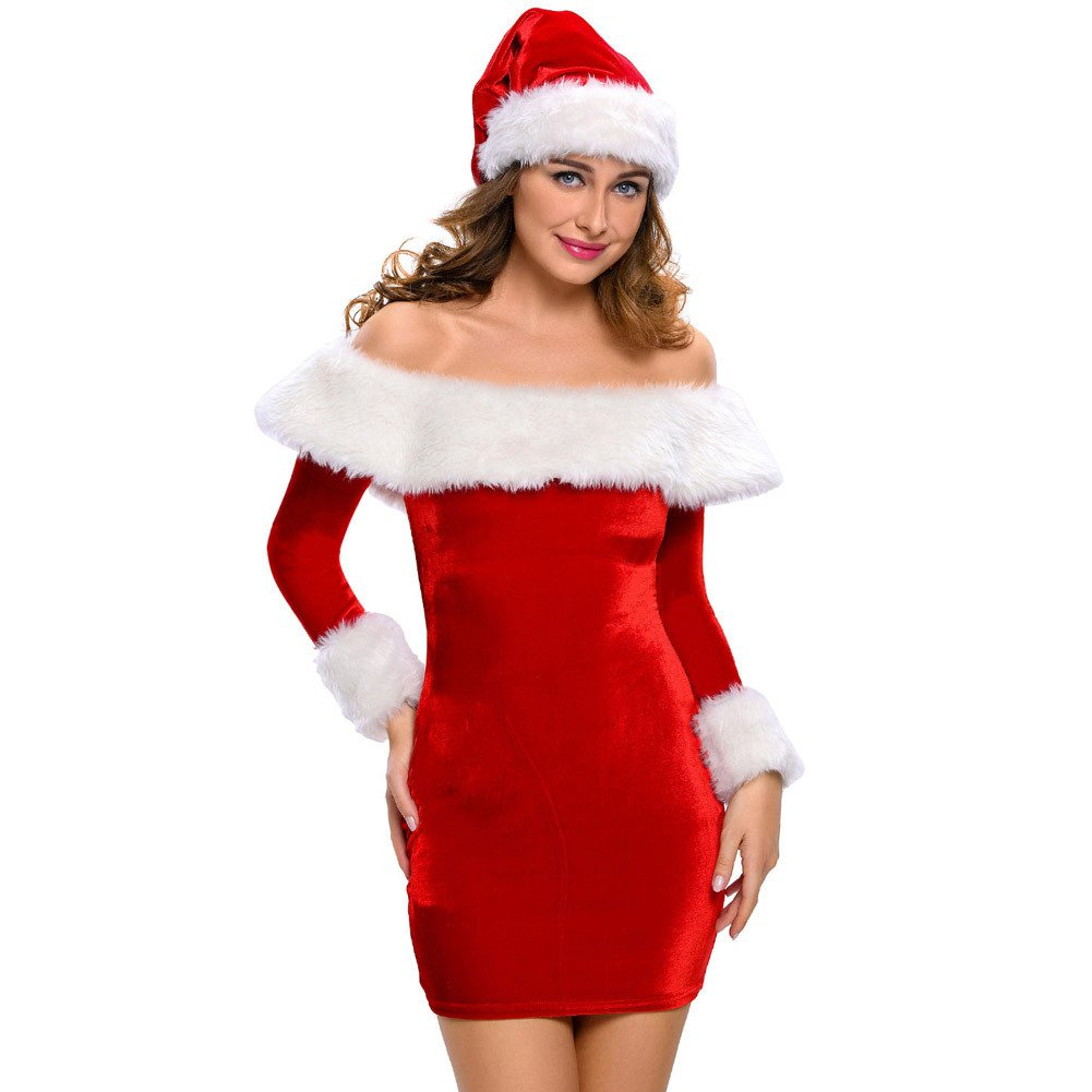 Sexy Red Santa Artificial Fur Stitching Dresses Stage Dress