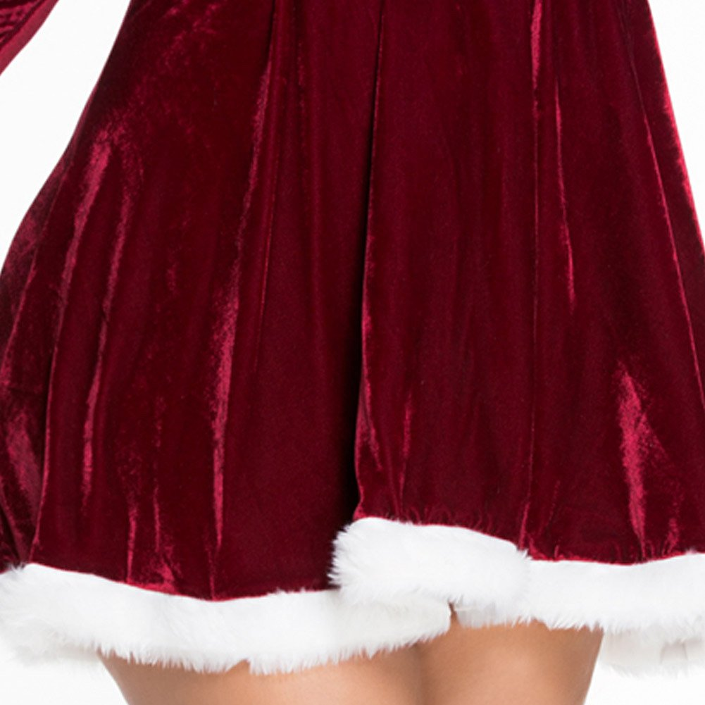Red Velvet Long - Sleeved Dress