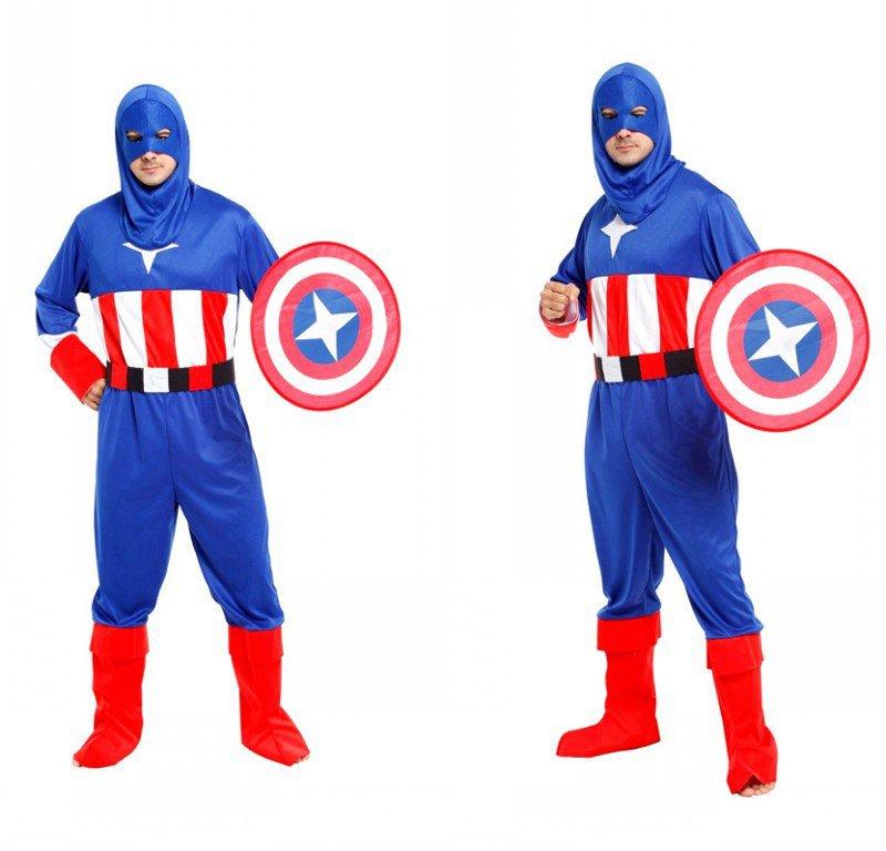Halloween Costume Adult American Captain Hero Alliance Dress Up Shield