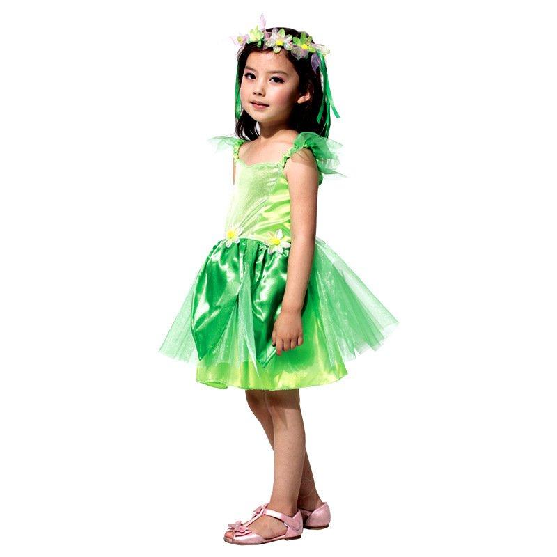 Halloween Costume Child Flower Fairy Wizard Green Flower Girl Dress