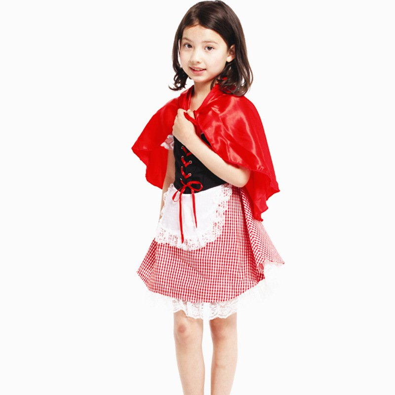 Halloween Costume Children Little Red Riding Hood Stage Dress Up Performance Dress Fairy Dress