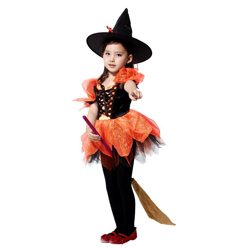 Halloween Costume Children Witch Puff Skirt Christmas Party