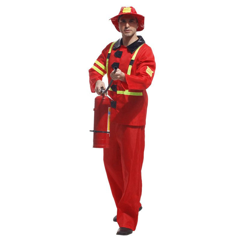 Halloween Costume Men Adult Stage Firefighter Dress Up Fire Wear
