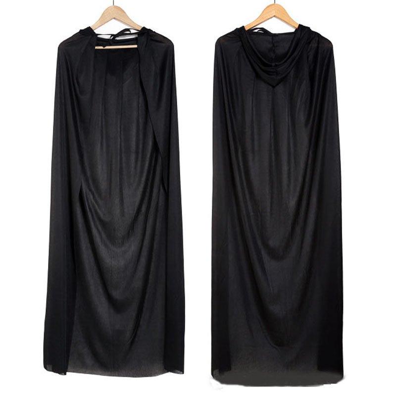 Halloween Costume Death Big Cloak Black Death Cloak Devil Cloak Black with Cap Long Cloak