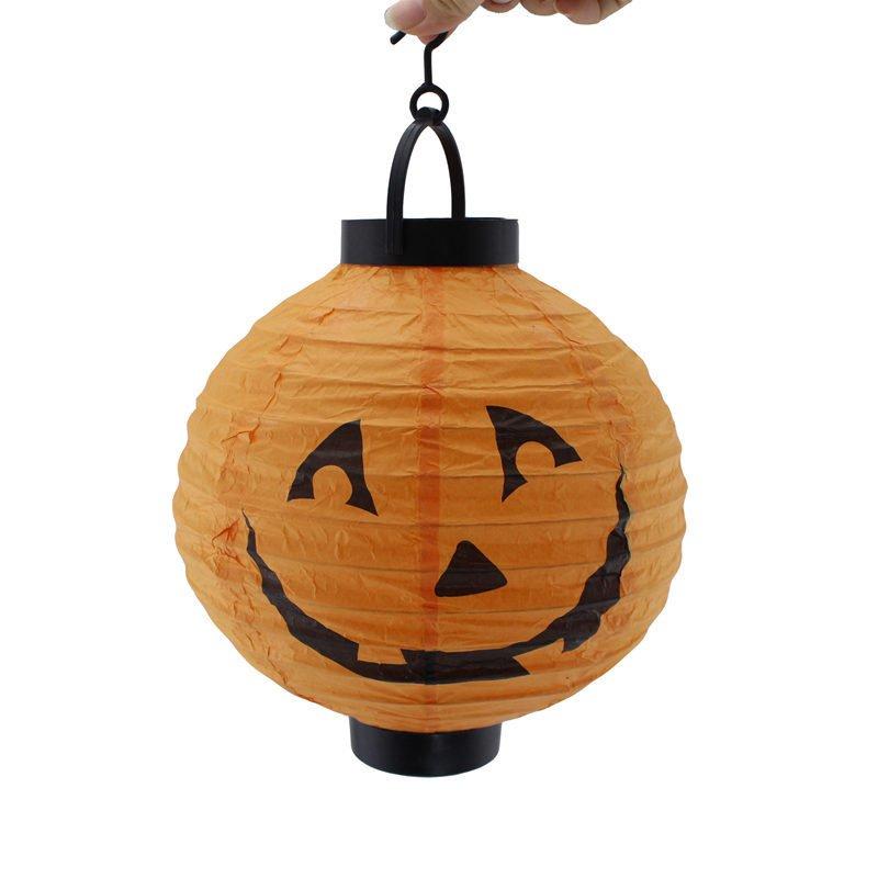 Halloween Pumpkin Light Illuminated Paper Lantern Portable Lantern Halloween Venue Arrange Ghost Festival Lighting 4 Colors