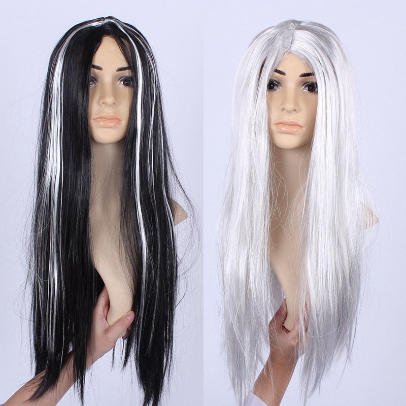 Halloween Makeup Makeup Dress Whole Wigs Black Silver Gray Ghost Festival