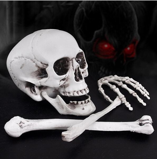 Lifelike Plastic Skeleton Skeleton Haunted House Decoration Chamber Escape Halloween Items Imitation Human Skeleton