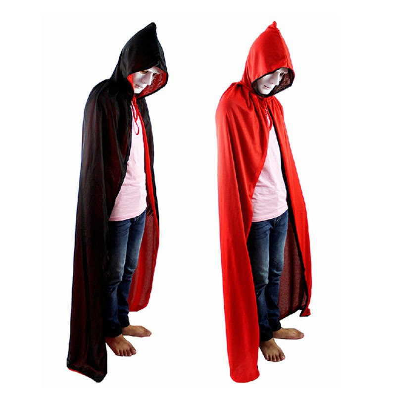 Halloween Halloween Cloak Dress Death Devil Cloak Double Red and Black Cloak with Hat Style