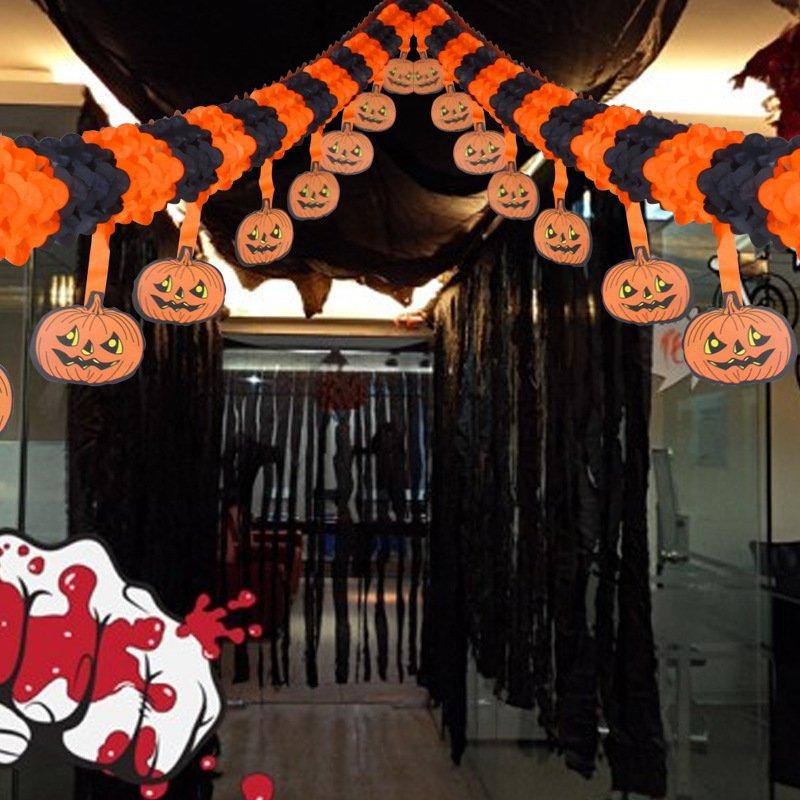 4 Meters Hanging Pumpkin Flower Flower Halloween Halloween Ktv Ornament Pull Flower Banners Layout