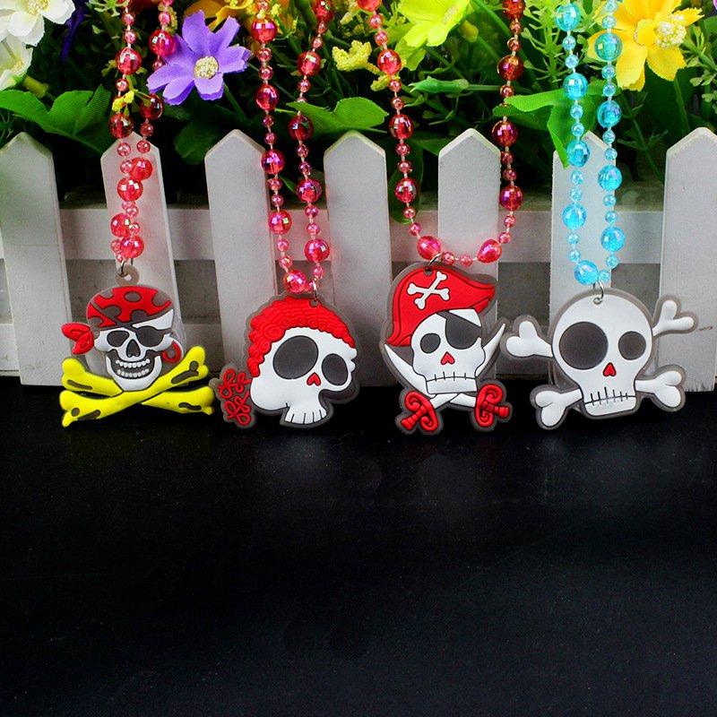 Halloween Beads Necklace Dress Up Halloween Glowing Skull Pumpkin Flash Necklace