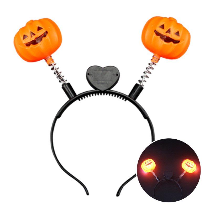Halloween Glowing Head Hoop Party Cheering Make-up Pumpkin Ghost Head Flash Hairpin