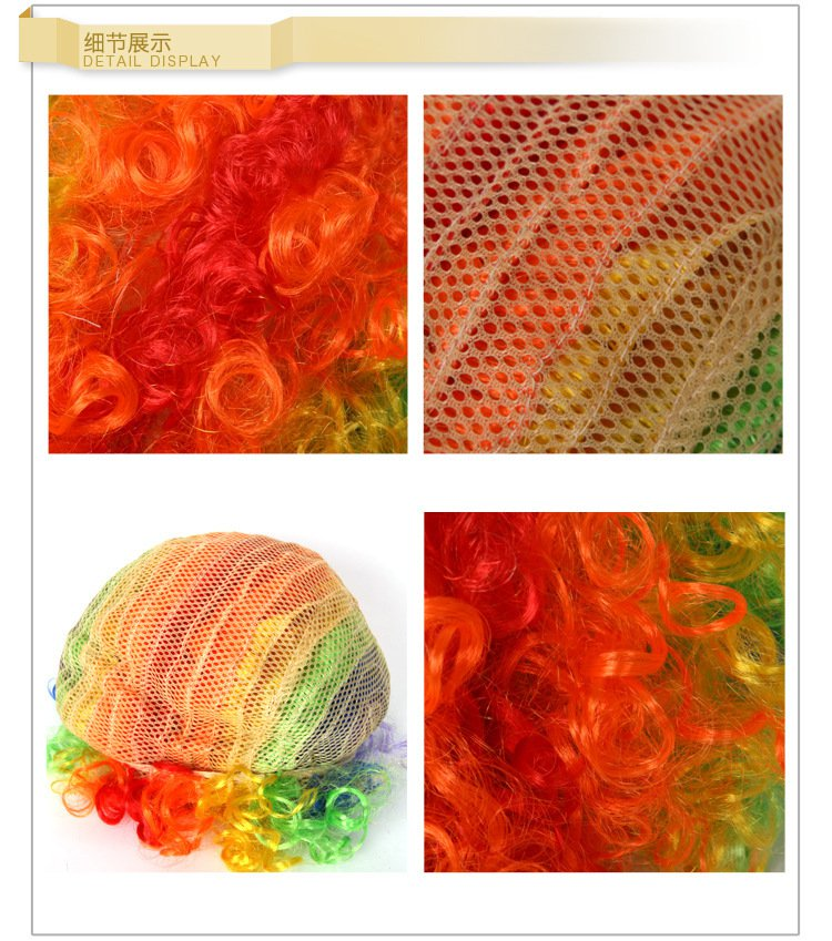 Halloween Supplies Color Explosion Wigs Clown Accessories Clown Wig Sponge Clown Nose
