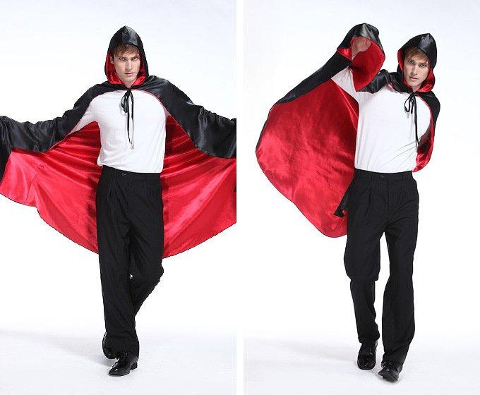 Halloween Costume Show Costume Vampire Cloak Demon Cloak Red and Black Double with Cap Cloak Satin