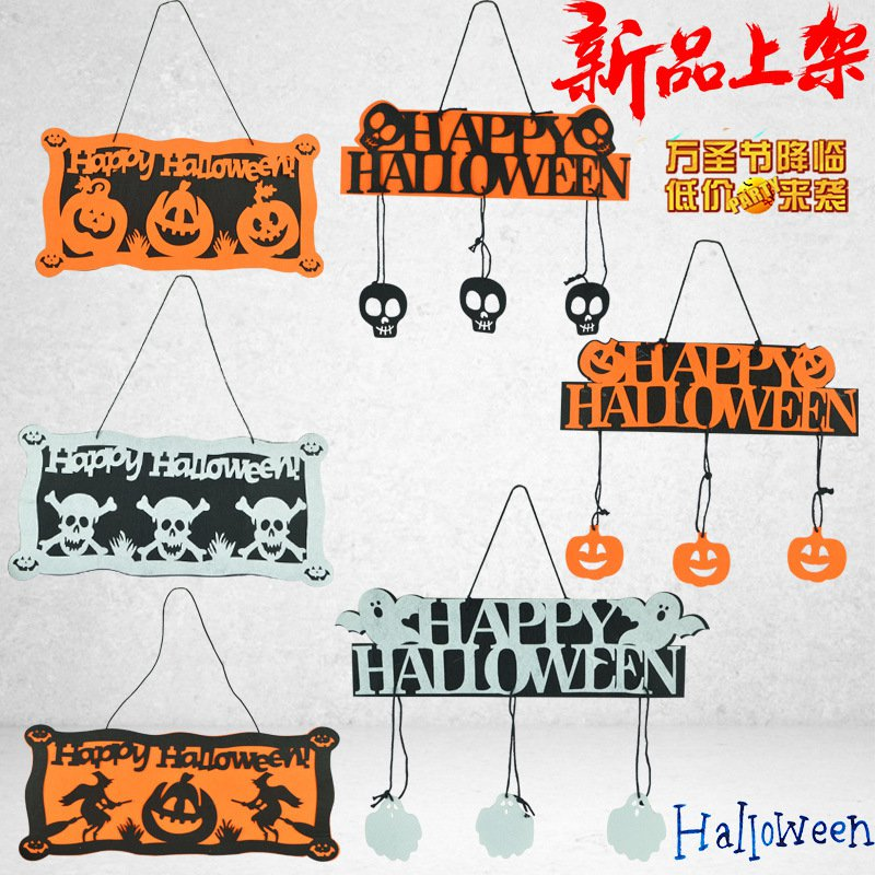 Halloween Pendant Non-woven Tag Hanging Halloween Pumpkin Listed Skeleton Pendant Halloween Happy Ornaments