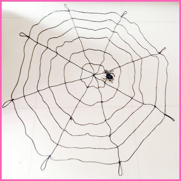 Halloween Venue Arrangement Spider Web Nylon Thread Spider Web Spider Web with Spider Black White