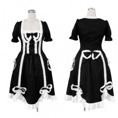 Ideal Top Black Gothic Lolita Halloween Cosplay Costume