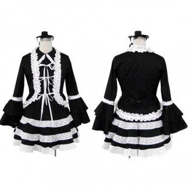Superior Black Lolita Halloween Cosplay Costume