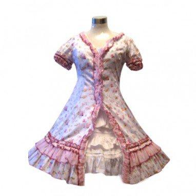 Cool Garden Style Pink Broken Flower Dress Lolita Halloween Cosplay Costume