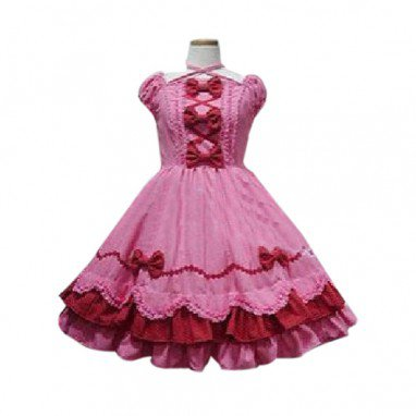 Peach Bow Princess Dress Lolita Halloween Cosplay Costume