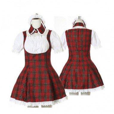 Sweet Red Plaid Maid Halloween Cosplay Lolita Halloween Cosplay Costume