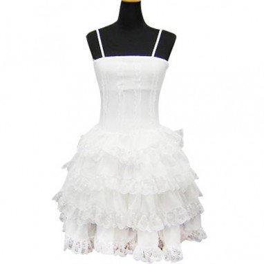 White Lace Trimmed Classic Lolita Halloween Cosplay Dress