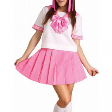 Classic Pink Short Sleeves School Uniform Halloween Cosplay Costume