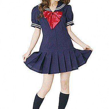 Blue Short Sleeves School Uniform Halloween Cosplay Costume