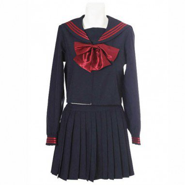 Popular Popular Deep Blue Long Sleeves Sailor School Uniform