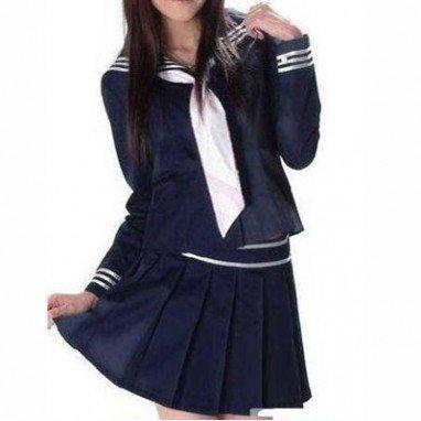 Suitable Popular Deep Blue Long Sleeves Sailor School Uniform