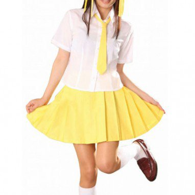 White And Yellow Short Sleeves School Uniform