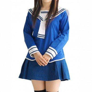 Blue School Uniform Halloween Cosplay Costume