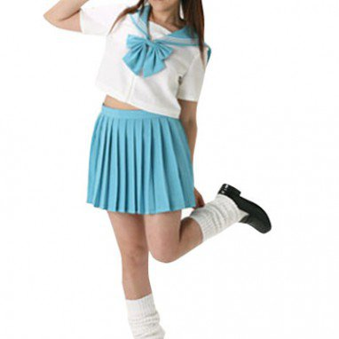 Blue Short Sleeves Sailor School Uniform