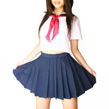 Classic White And Deep Blue School Uniform