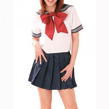 Short Sleeves Bow Sailor School Uniform Halloween Cosplay Costume