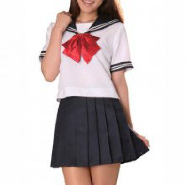 Top Short Sleeves Sailor School Girl Halloween Cosplay Costume