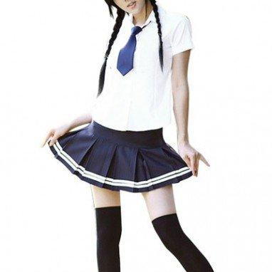 White And Blue Tie Halloween Cosplay School Uniform