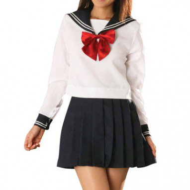 White And Deep Blue School Uniform Halloween Cosplay Costume