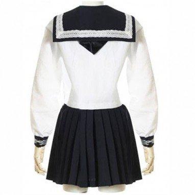 White Long Sleeves Sailor School Uniform Halloween Cosplay Costume