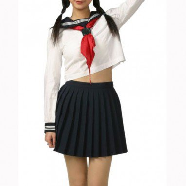 Black And White Long Sleeves School Uniform Halloween Cosplay